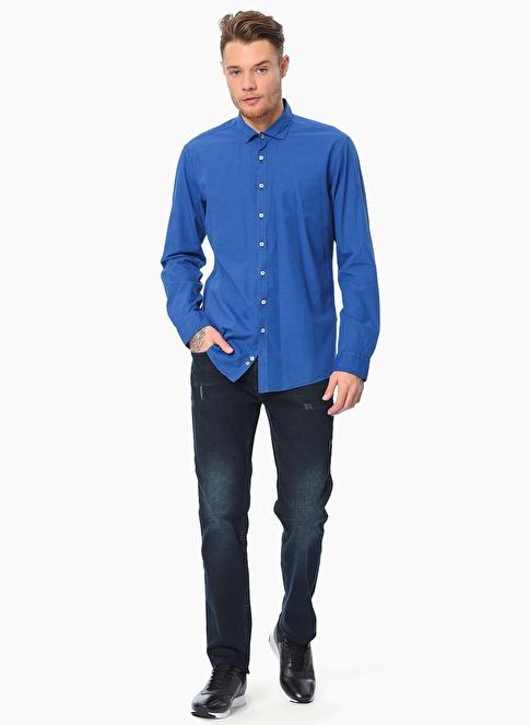 Que Slim Fit Uzun Kollu Gömlek Saks